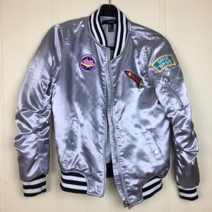 Silver Space Forever 21 Bomber Jacket   Size Small